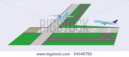 Airplane taxi on runway and airplane takeoff from runway. Perspective view. Vector illustration. Eps 10. poster