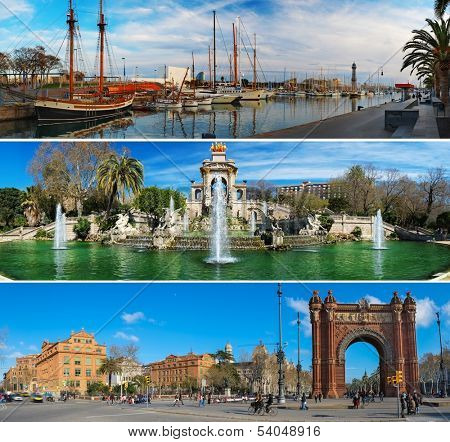 Set of three Barcelona attractions panoramas