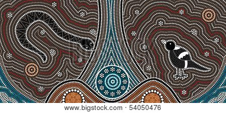 A Illustration Based On Aboriginal Style Of Dot Painting Depicting Fierce Snake And Magpies