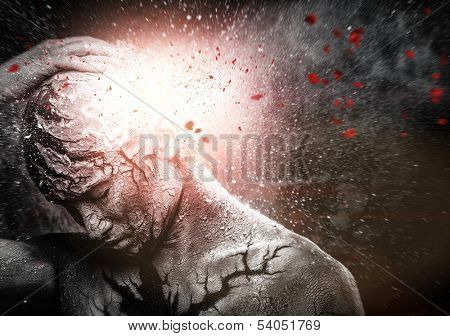 Man with conceptual spiritual body art