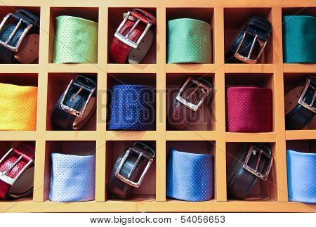 Large Selection Of Ties And Belts On Sale