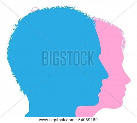 Couple Faces Silhouettes