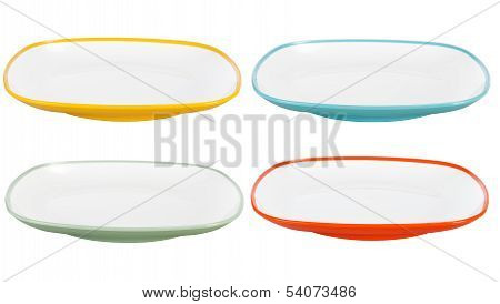 Colored Plastic Plates On White Background