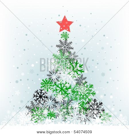 snow feer-tree with red star