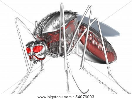 Mosquito. Robot bloodsucker. Isolated on white. 3d concept poster