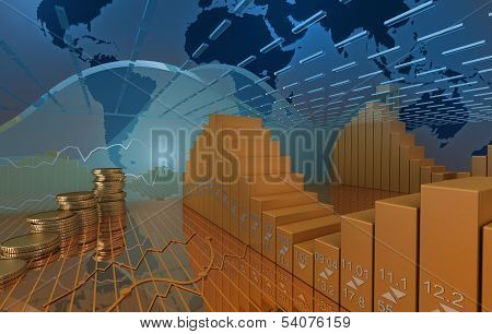 Business market background with coins and stock diagramm