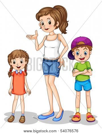 Illustration of a girl and her siblings on a white background