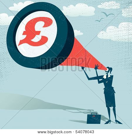 Abstract Businesswoman Looks Through Her Telescope For Pounds