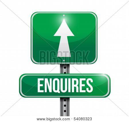 Enquires Road Sign Illustration Design
