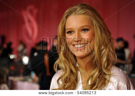 NEW YORK NY - NOVEMBER 13: Model Toni Garrn backstage at the 2013 Victoria's Secret Fashion Show