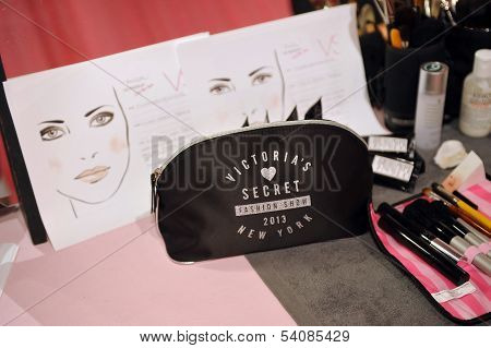 NEW YORK NY - NOVEMBER 13: A view of atmosphere and make-up kits and insructions backstage