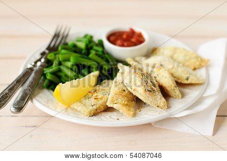 Lemon Semolina Crusted Fish Fries With Green Beans And Marinara Sauce