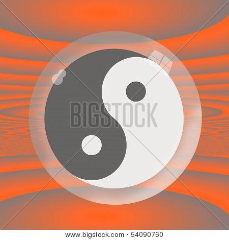 Yin Yang Under Glass