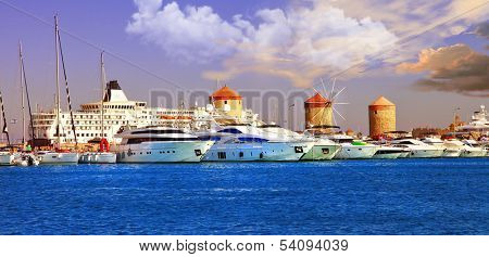 Rhodes, Mandraki port on sunset. Greece