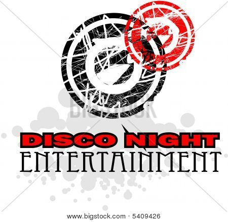 Disco Nigh Entertainment Design symbol with high contrast colors poster