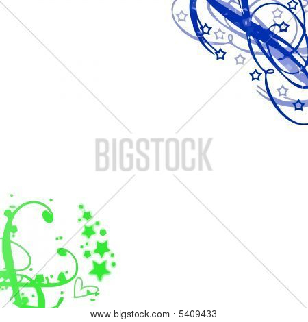 Deep Green Blue Swirls Background