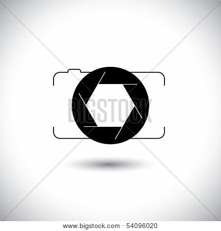 abstract digital camera & shutter icon outline front view. This vector graphic is simple vector representation of trendy photographic tool for taking photos & videos poster