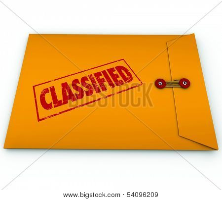 Classified information, plans, secrets or data in a yellow envelope sealed shut and stamped with the word to illustrate it is private or confidential and only for people with clearance to read