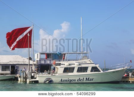 Diving Boat at the Amigos del Mar Dock in San Pedro, Belize
