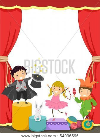 Background Illustration of Kids Performing in a Circus