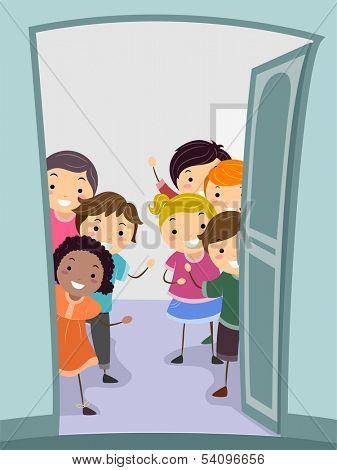 Illustration of Kids Standing Behind a Wide Open Door