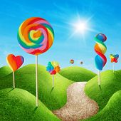 Fantasy sweet candy land with lollies poster