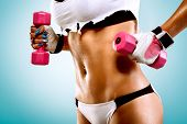 Body of a young fit woman lifting dumbbells poster