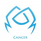 Illustration of Simplistic Lines Cancer Zodiac Star Sign isolated on a white background poster