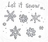 Set of doodle snowflakes. Let it snow. Vector background. poster