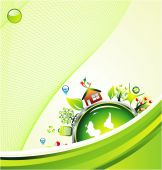 Go green recycle and environment background with high contrast colors poster