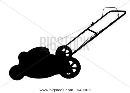 commercial lawn mower silhouette. silhouette with clipping path of lawn mower commercial