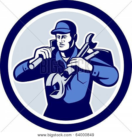 Handyman Repairman Spanner Wrench Spade Retro