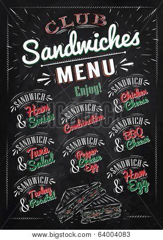 Sandwiches menu chalk color