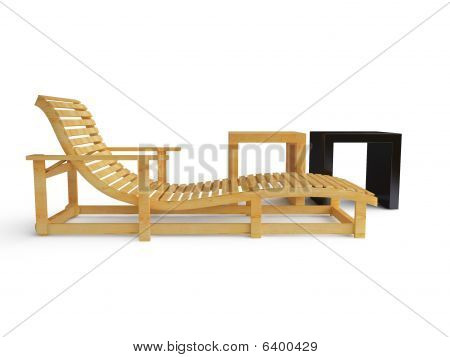 Sunlounger - Isolated On White
