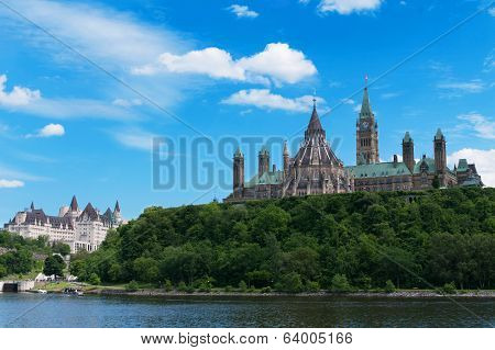 Canadian Parliament Hill Viewed From Across Ottawa River During A Beautiful Summer Day