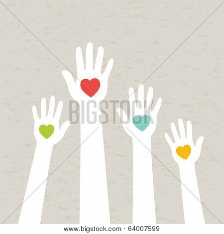 Hands with hearts. Vector illustration.