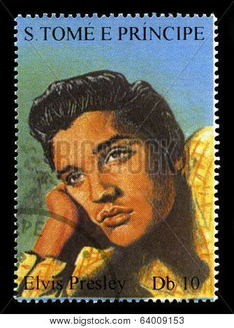 Elvis Presley Postage Stamp From S. Tome E Principe