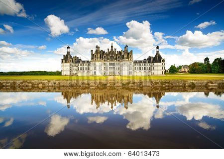 Chateau de Chambord royal medieval french castle and reflection. Loire Valley France Europe. Unesco heritage site. poster