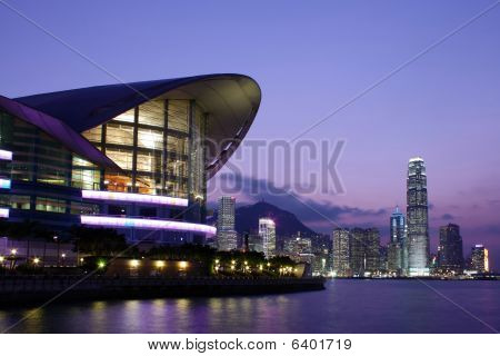 Hong Kong Convention and Exhibition Centre at night