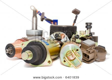 some auto spare parts against white background poster