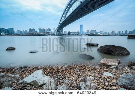The Lupu Bridge Over Huangpu River In Shanghai