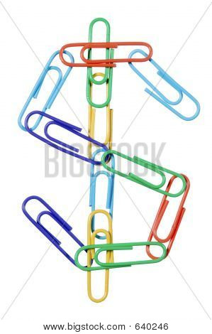 Paperclips Arranged Into The Shape Of The Dollar Sign Symbol.