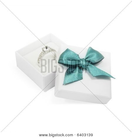 Ring In A Gift Box On White
