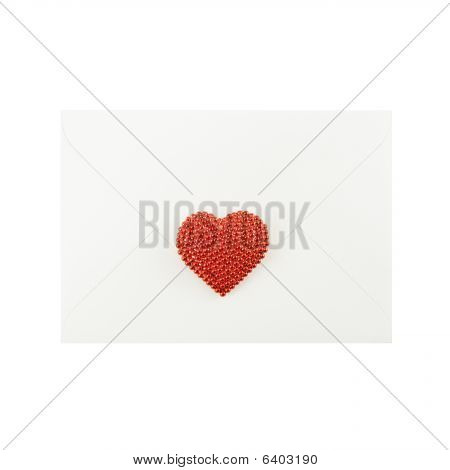White Envelope With A Stylish Red Heart On White