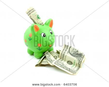 Green Piggy Bank With Dollars