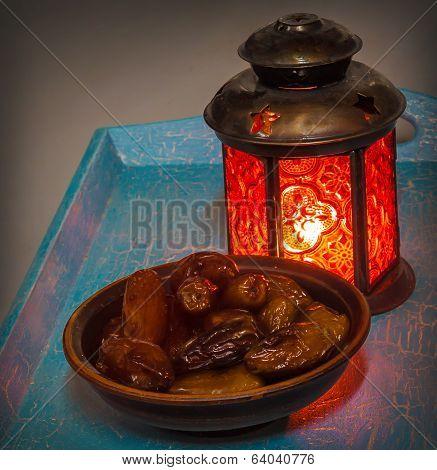 Ramadan Lamp And Dates Still Life