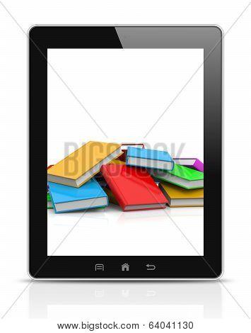 Tablet Pc Showing an Heap of Untidy Colored Books Illustration poster