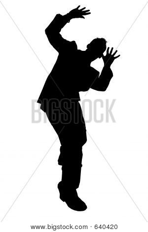 Silhouette Cowering Business Man With Clipping Path
