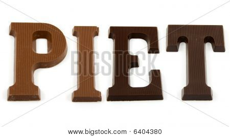 The Word Piet In Chocolate Letter