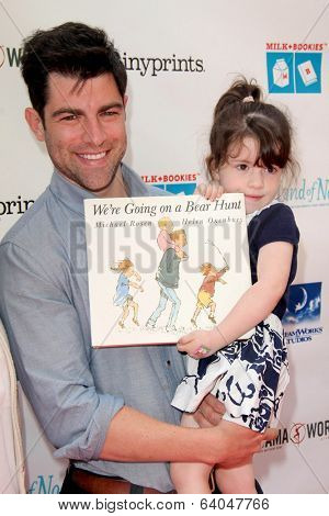 LOS ANGELES - APR 27:  Tess Sanchez, Max Greenfield, Lilly Greenfield at the Milk + Bookies Story Time Celebration at Skirball Center on April 27, 2014 in Los Angeles, CA